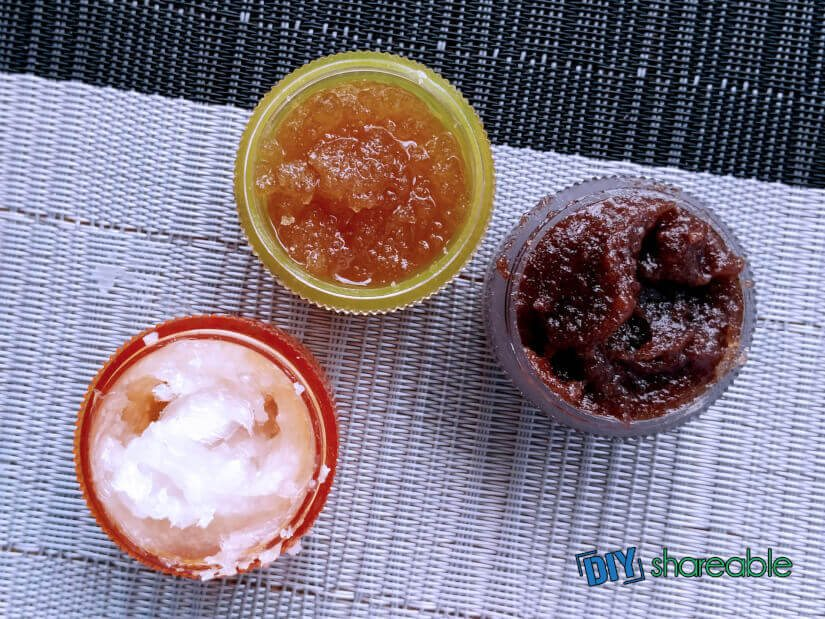 The finished product for all 3 lip scrub recipes