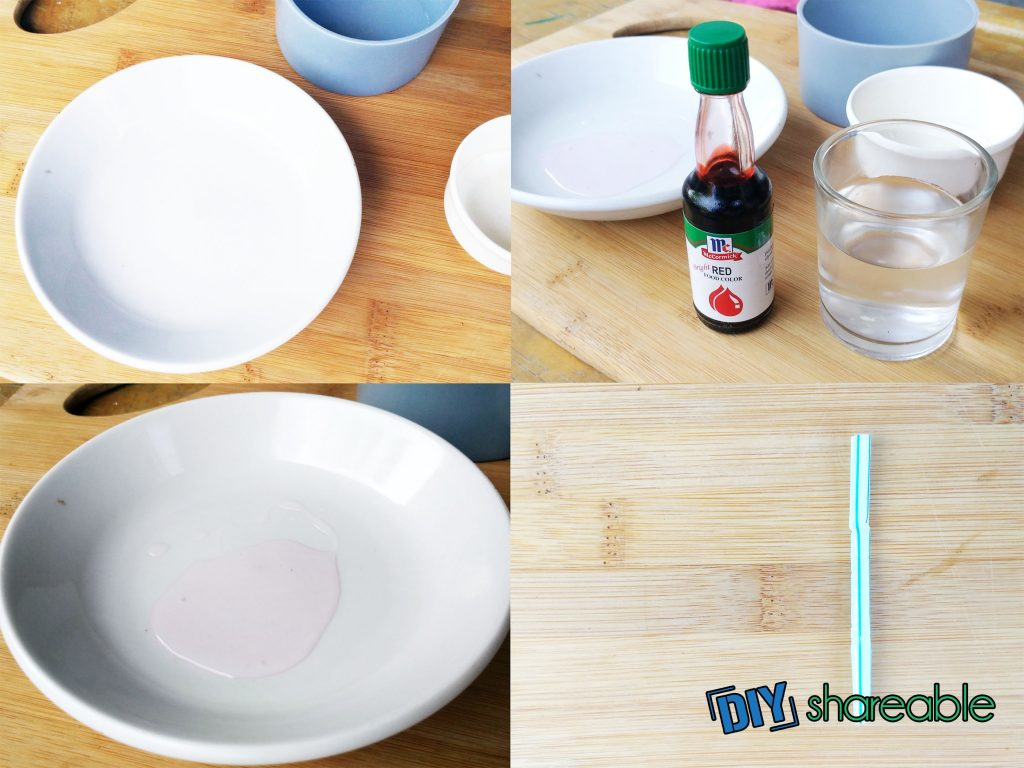 Four squares with images of materials including white plate, cup of water, red food coloring and straw