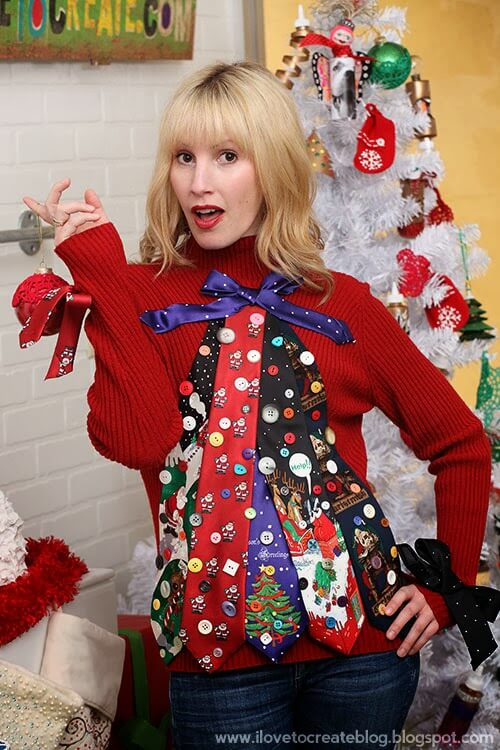 Ugly sweater idea using those horrific holiday ties that exist.