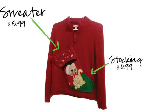 Very inexpensive ugly Christmas sweater using a stocking.