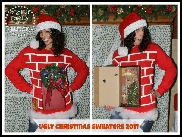 Ugly Christmas sweater complete with a chimney and a functional gift at the bottom.