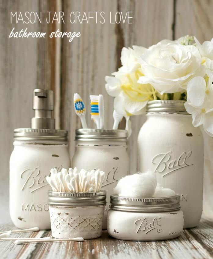 Give your half bathroom a shabby chic element with these functional mason jars.