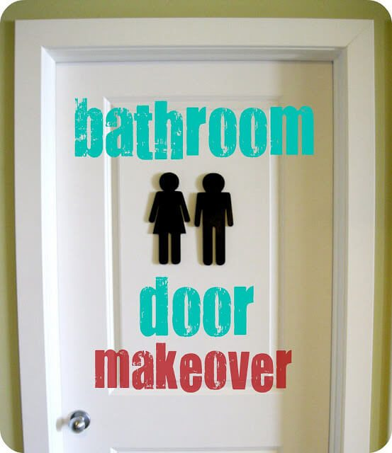 Fun, creative bathroom sign using male and female wooden cut-outs.