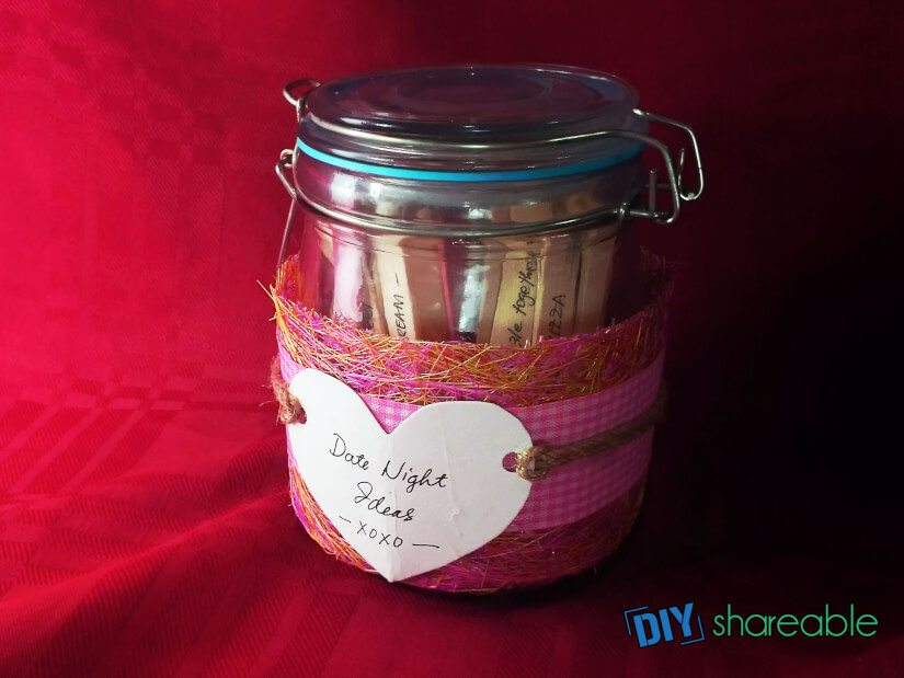 Completely finished DIY Date Night jar