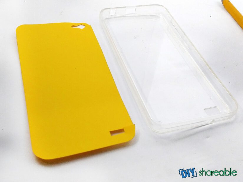 carefully cut out the template you just traced for your case