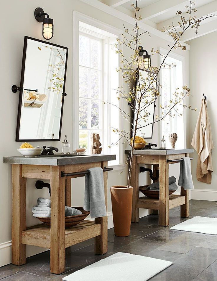 This is a picture of a pottery barn bathroom