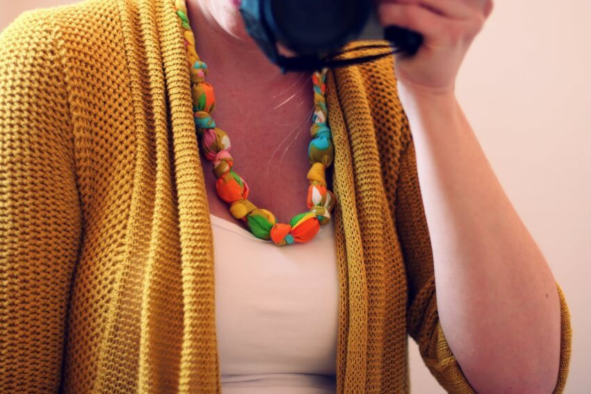 diy fabric and bead chewable statement necklace
