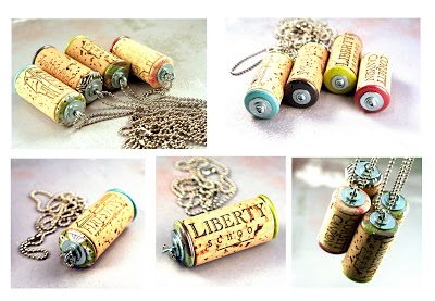 statement necklace made from upcycled wine corks