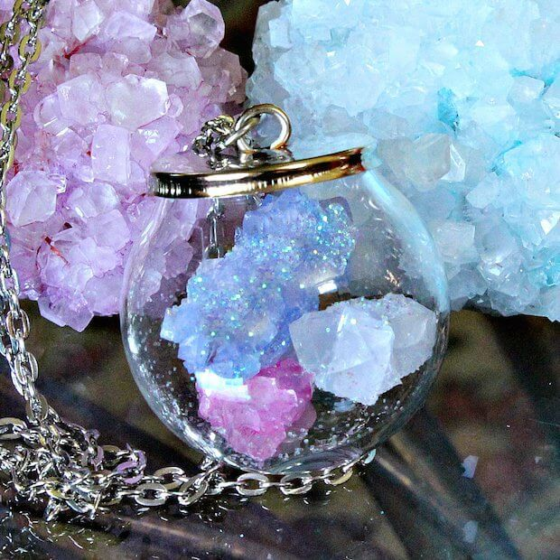 statement necklace with diy borax crystals
