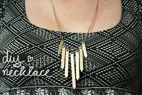 statement necklace made from wooden coffee stirrers