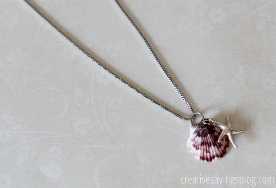 seashell and charm statement necklace