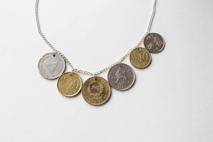 statement necklace made from coins