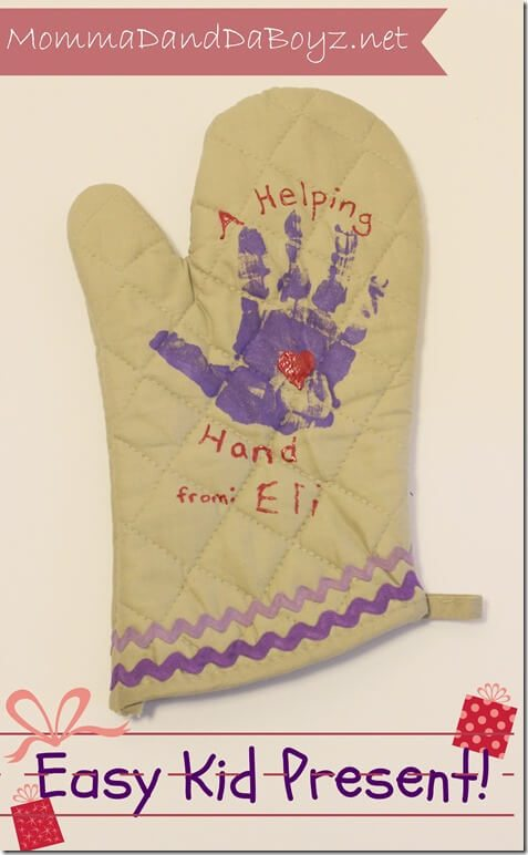 handprint stamped hot pads from children