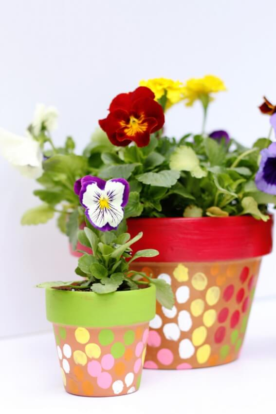 finger painted flower pots