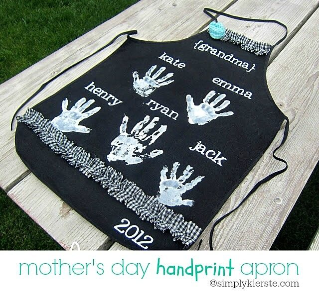 A handmade apron with the handprints is sure to be a hit.