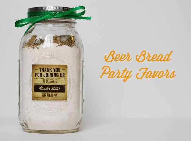 diy adult party favors beer-bread mix in a jar