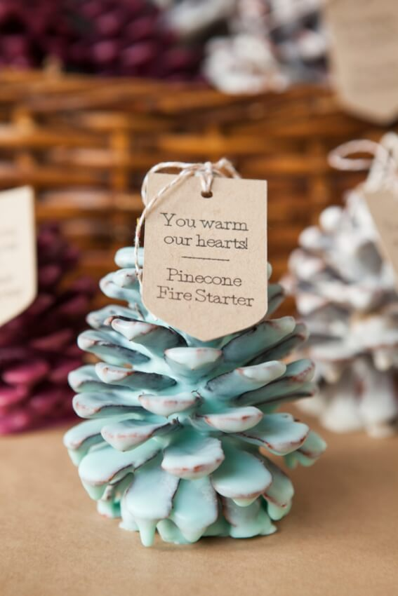 diy adult party favors pinecone fire starter dipped in soy wax and scented with essential oils