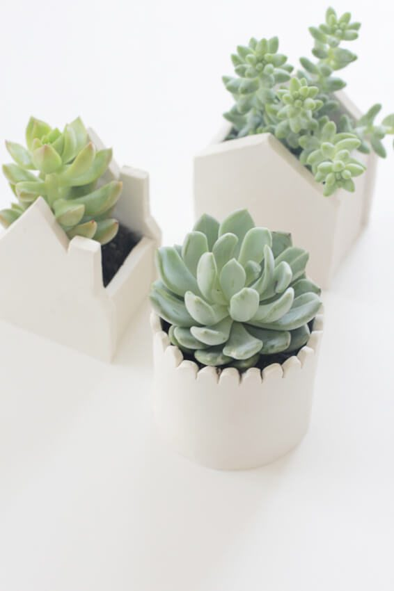 Simple but cool little house-shaped plant pots made out of oven-baked clay