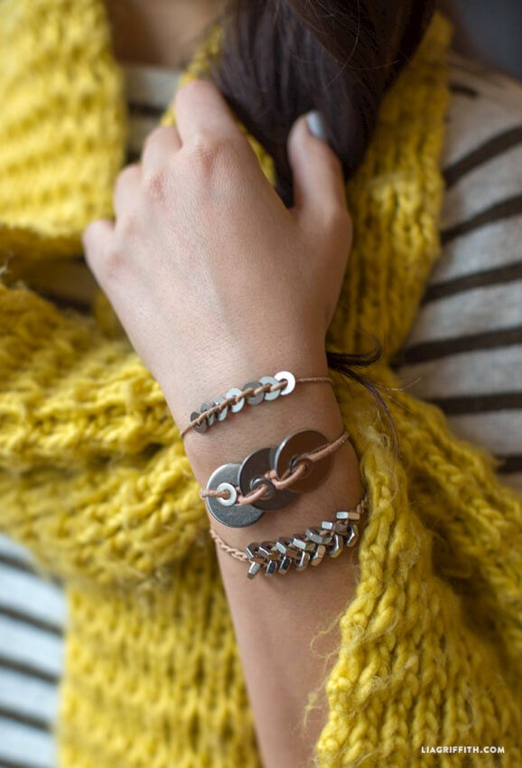 Very cool bracelets made using various hardware and leather cords