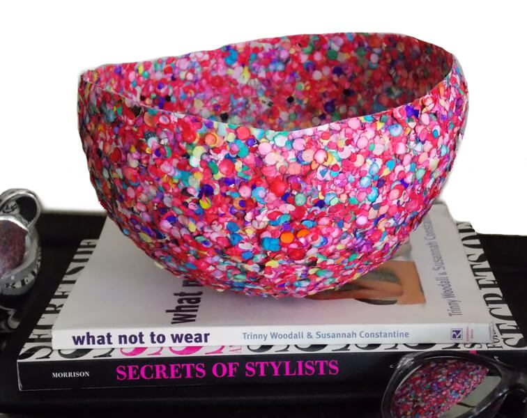 Colorful confetti bowl craft that begins with a balloon