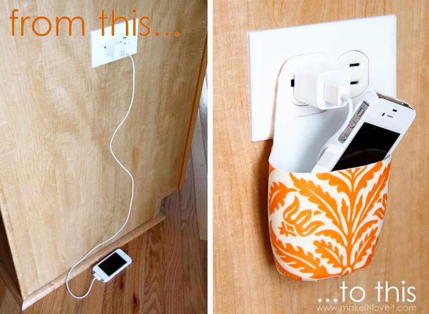 Very cool cell phone charging holder using a lotion bottle