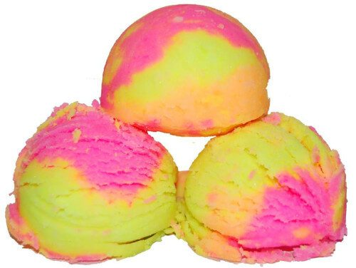 These bath fizzies look just like rainbow sherbet and can really brighten your day.