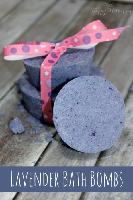 These bombs make for a luxurious bath with the pleasing color and scent of lavender.