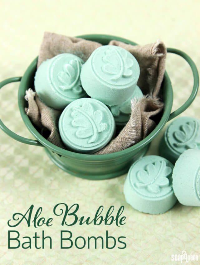 Aloe bath bombs with a leaf design that also provide an actual bubble bath too.