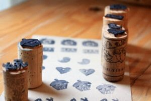 Wine cork stamps with patterns.