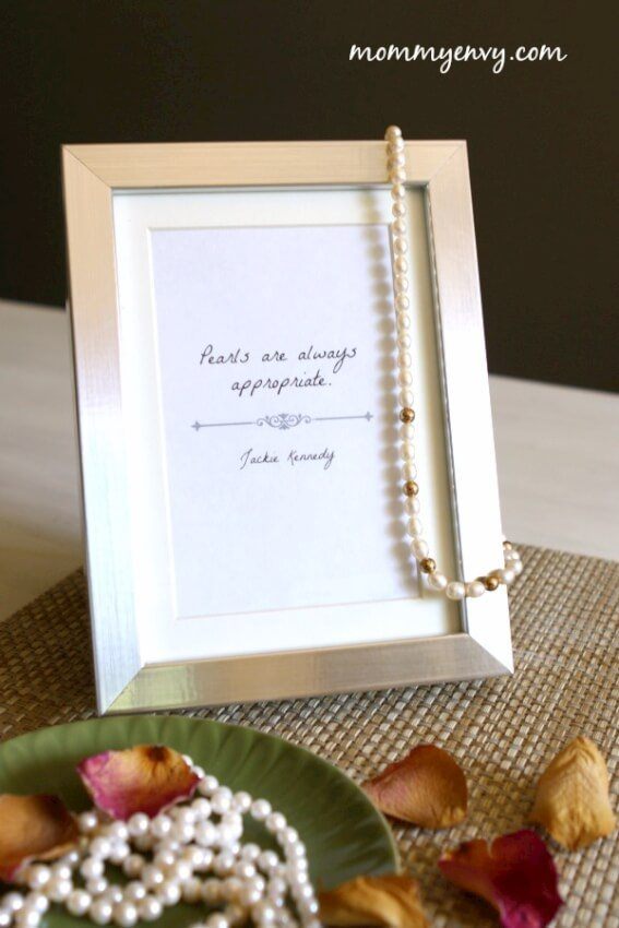 jackie kennedy framed quote pearls