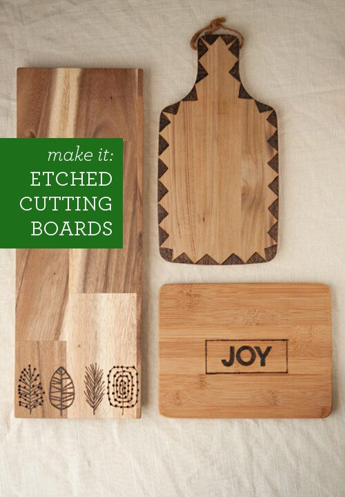 personalized Etched wood Cutting Boards joy