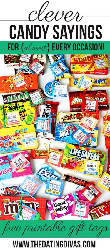 candy clever sayings starburst live savers extra sour patch hot tamales butterfinger milky way m&ms good & plenty