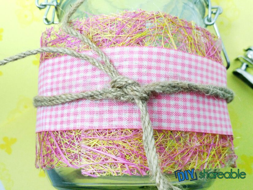 glue heart to the DIY Date NIght jar and tie twine in the back