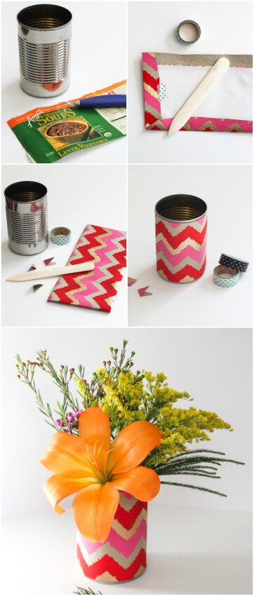 decorated vases made from soup cans