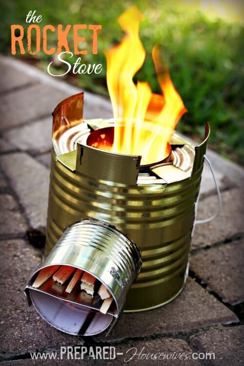 working stove made out of tin cans