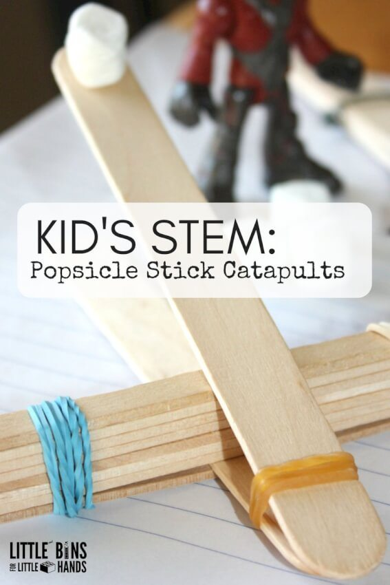 kids catapult from popsicle sticks and rubber bands