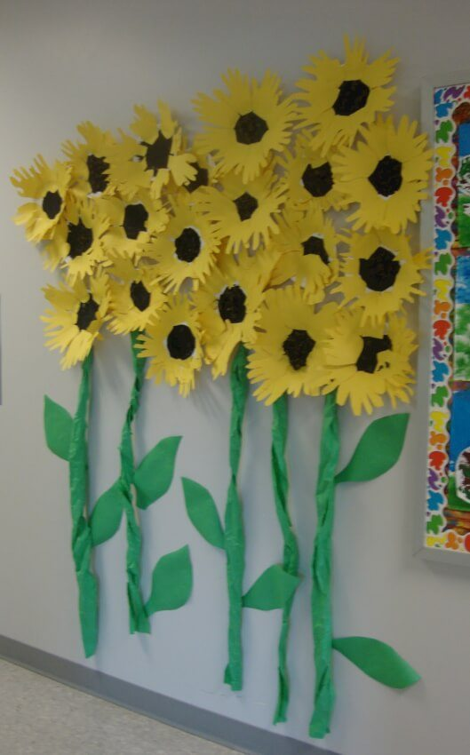 giant yellow and green sunflowers made from paper plates