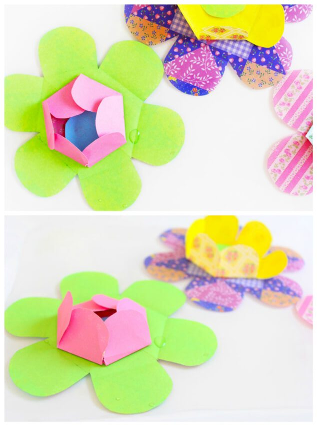 brightly colored kirigami water blossoms