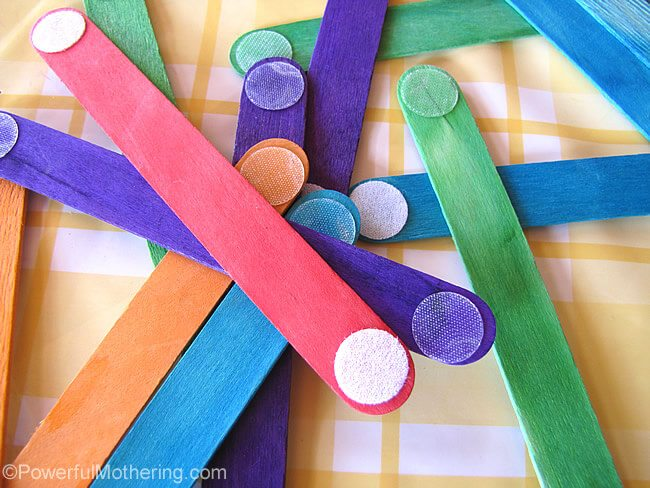 brightly colored velcro popsicle sticks