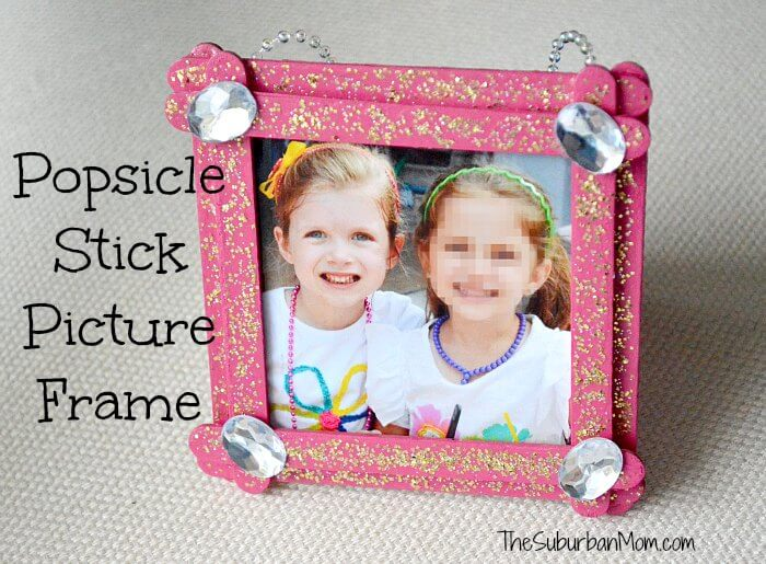 pink glitter with sequins popsicle stick picture frame