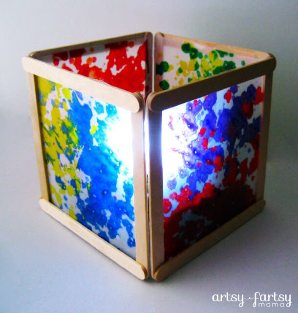 wax paper lantern from popsicle sticks nightlight