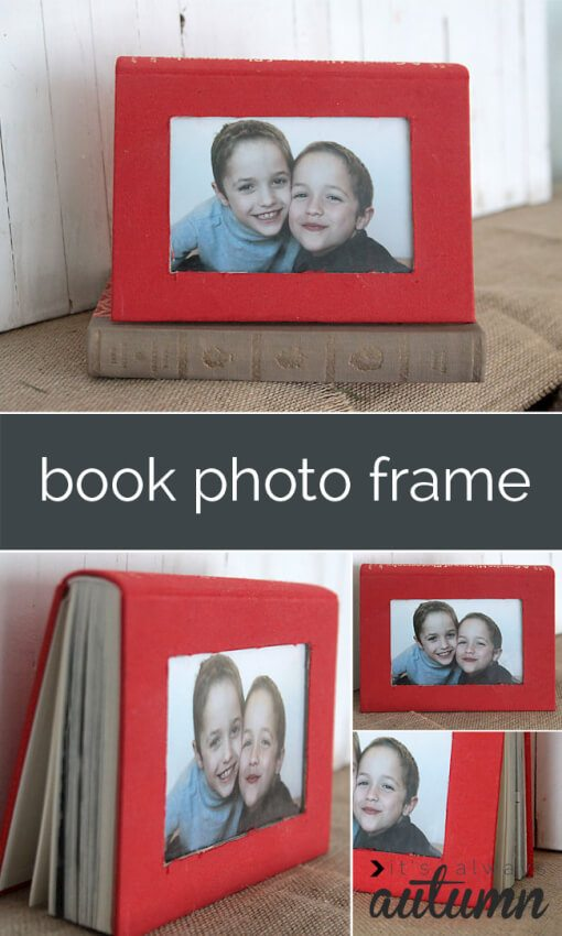 red book picture frame cut into cover