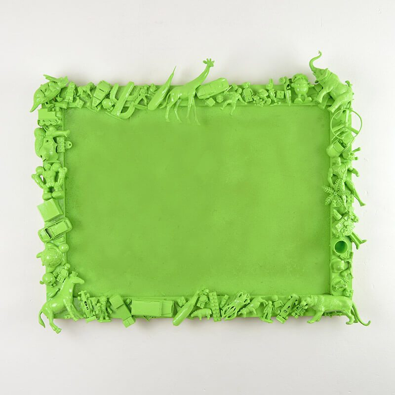 bright green upcycled toys picture frame for kids