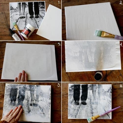 canvas transfer of black and white photo with paintbrush