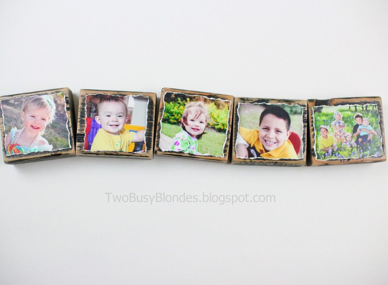 wooden photo blocks with pictures of children