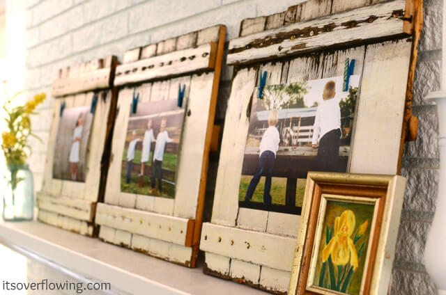 white picket fence picture frames upcycled with pictures of kids