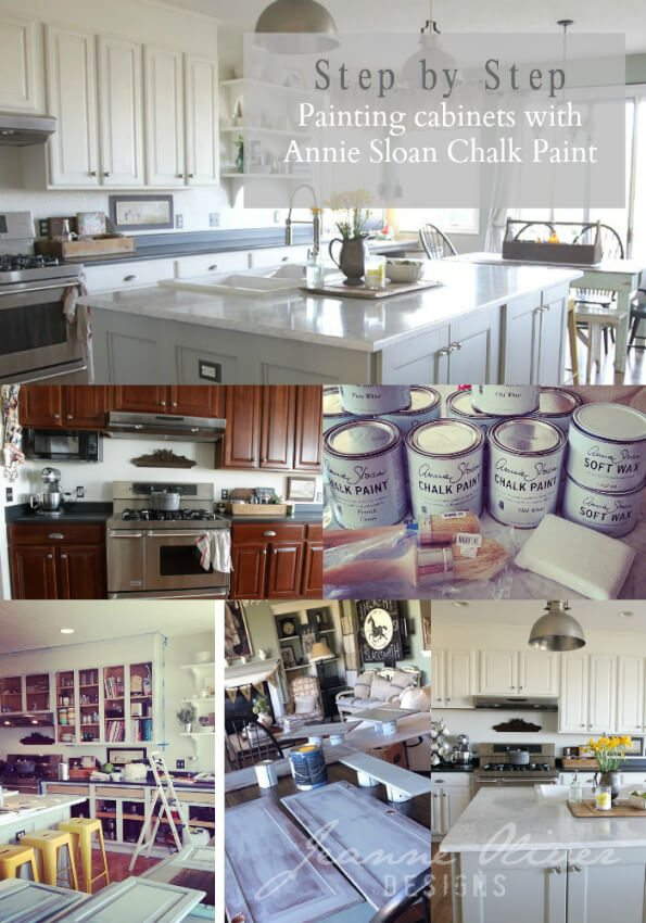 Collage showing kitchen cabinets befor and after chalk paint.