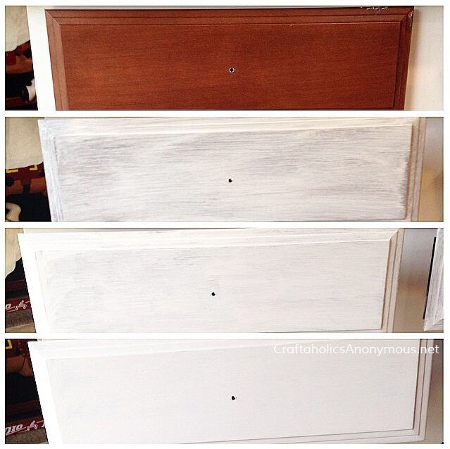 stages of painting dark wooden drawer with white chalk paint