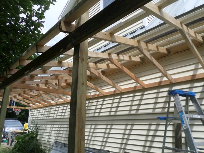 2x4 nailers are used to attach the roofing panels by nailing them onto the top of the roof joists
