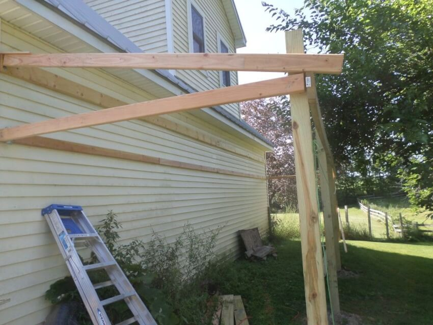 Build shed framework with stringers, joists, and joist supports